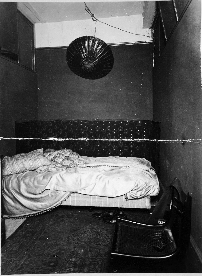 Photograph of a small bedroom area in the flat, 25 Fitzroy Square, 1927.