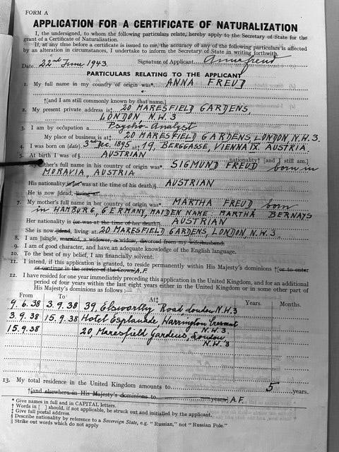 Anna Freud's unsuccessful application for British citizenship, 22 June 1943.