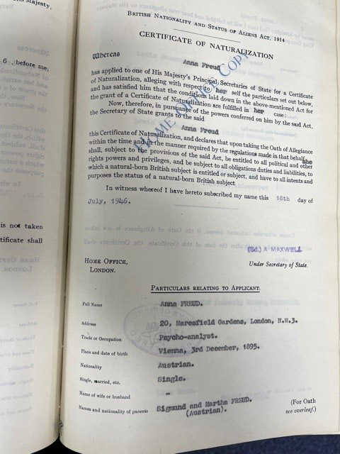 Anna's certificate of naturalisation was eventually issued on 18 July 1946, granting her British nationality.