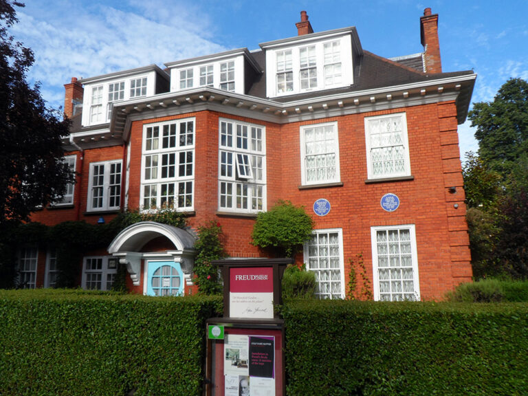 Colour photograph of the exterior of 20 Maresfield Gardens in Hampstead, London, Anna's main home for much of her life which was converted to the Freud Museum in 1986
