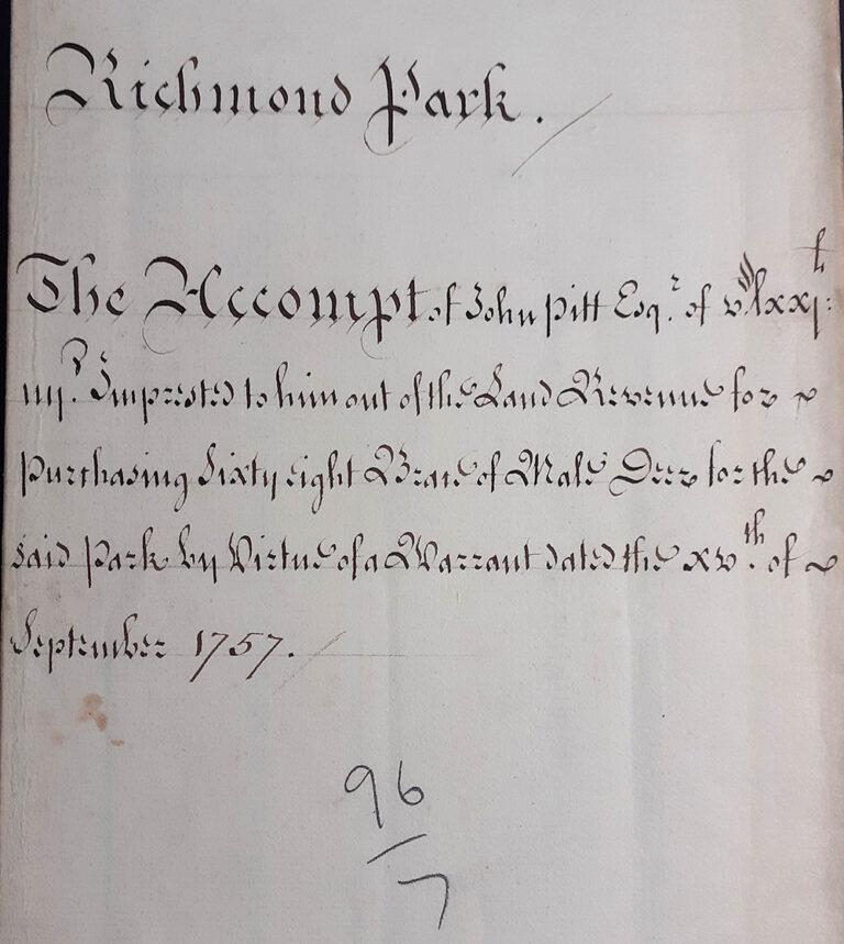 15 September 1757, 'An Accompt' of John Pitt regarding a warrant for the purchasing of 'sixty eight brace' [136] of male deer [bucks].