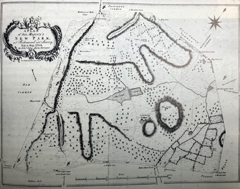 Plan of the New Park at Richmond (after the map made in 1754) for King George II by Edward John Eyre, Surveyor in the fourth year of the Rangership of his daughter Princess Amelia.