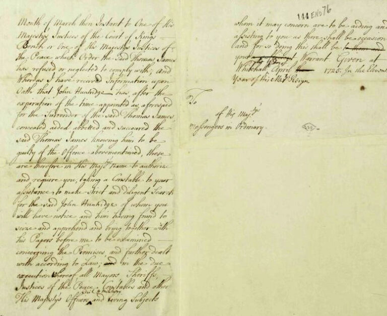 1725 April: Directions from [the Secretary of State for the Southern Department] the Duke of Newcastle to issue a warrant to apprehend John Huntridge, regarding the shooting of Edward Fitzpatrick in Enfield Chase.