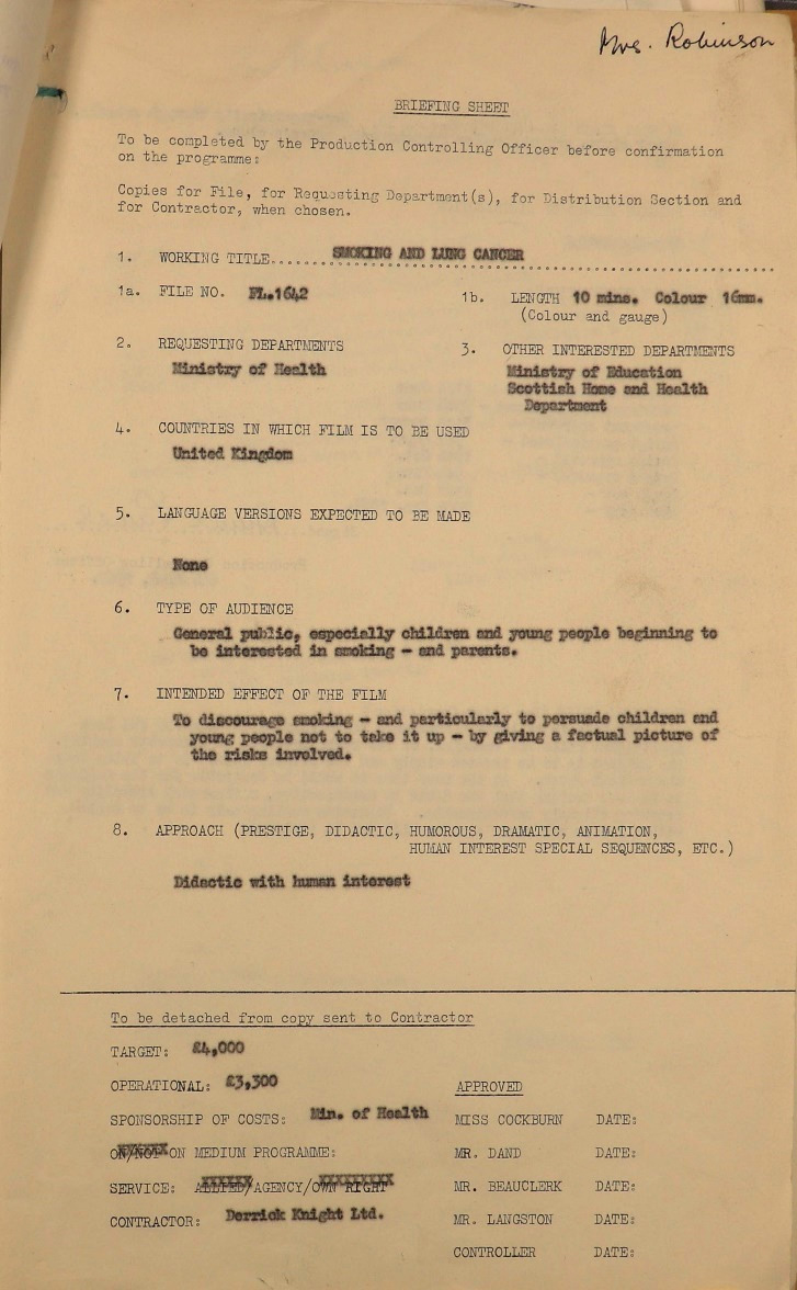 Briefing sheet for the 1962 film 'Smoking and You', describing the intended audience and style of the film.