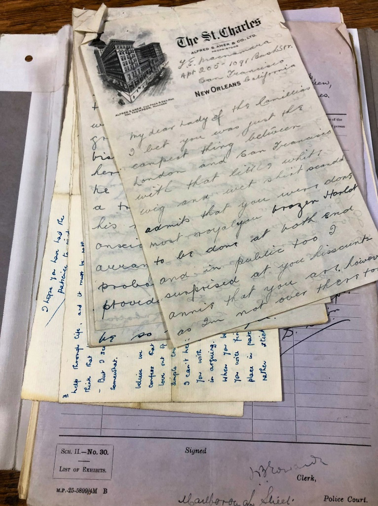 A collection of handwritten letters seized during the raid on 25 Fitzroy Square in 1927.