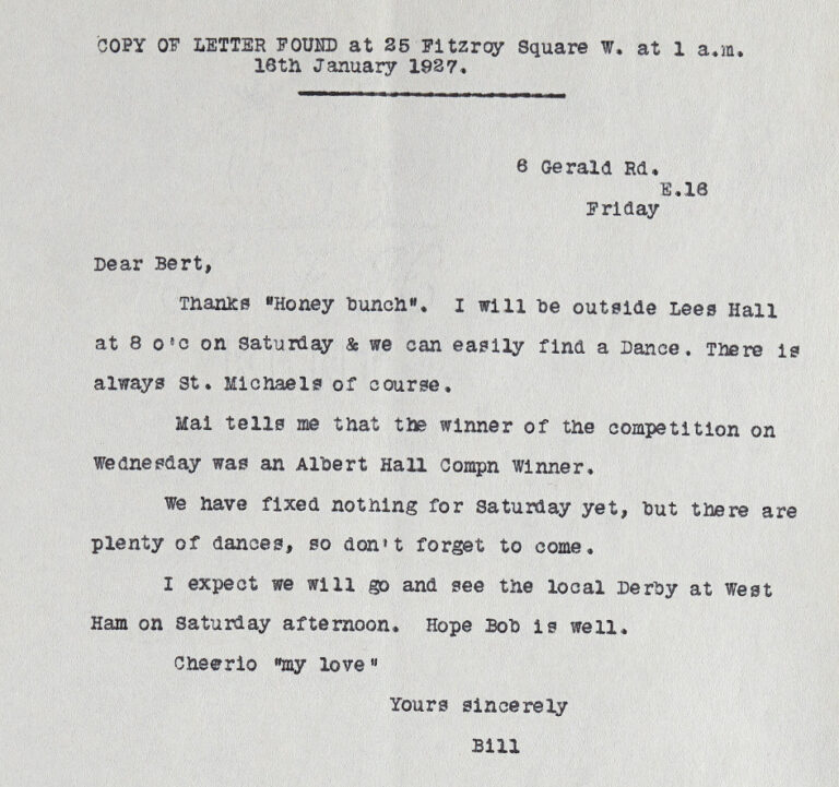 Letter from Bill to Bert about finding a dance, typed up in to this format by the authorities, 1927.