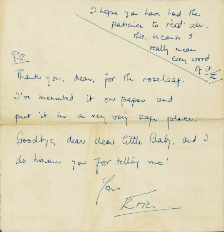 Ending of the letter from Eric to Bert, from the handwritten original, 1927.