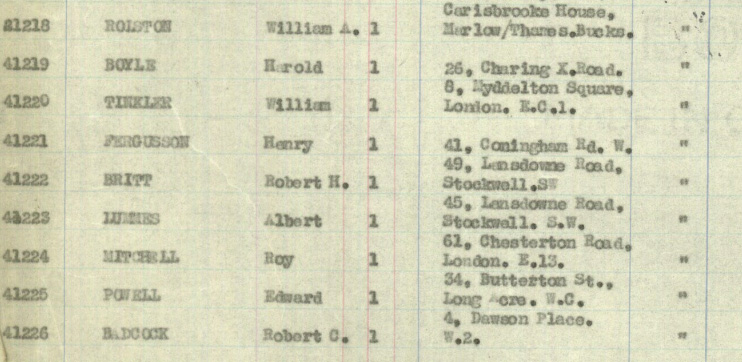 Passenger list, showing Bert and Bobby as 'actors' travelling to New York.