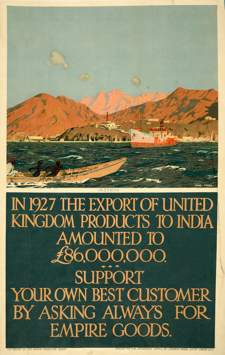 A poster from 1927 for the Aden: Empire Marketing Board. It shows a small boat being rowed by three young Africans and a larger vessel moored in a small harbour overlooked by a lighthouse.
