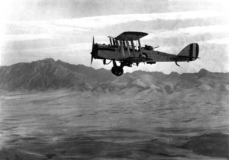 A twin-engine plane flying over Iraq's Suiaimanaiyah Valley in 1924. Iraqi nationalists opposed the British Mandate and the Royal Air Force continued to play a prominent role in maintaining the administration.