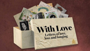 Decorative image promoting the With Love exhibition. A collection of letters are shown spilling from a box.