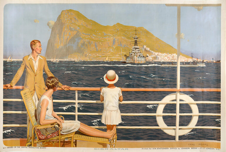 A man, a woman and their daughter are standing on the deck of a boat, looking out at the Rock of Gibraltar. The painting's artist is Charles Pears.