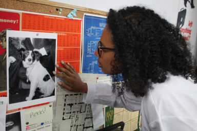 A young woman looks at a photograph on the wall of the dog Pickles.