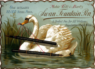 Painting of a swan and a pair of pens, used to advertise Mabie Todd and Bard's Swan Fountain Pen.