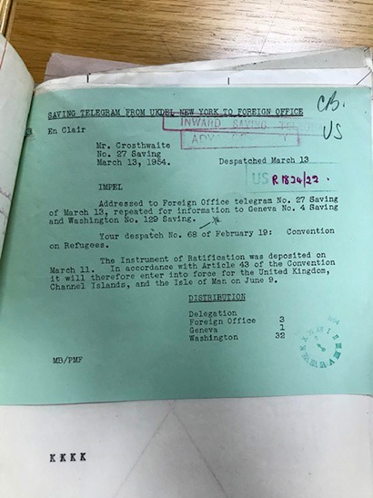 Copy of a telegram from the UK delegation to the UN in New York to the Foreign Office, confirming deposit of the 'Instrument of Ratification', March 1954.