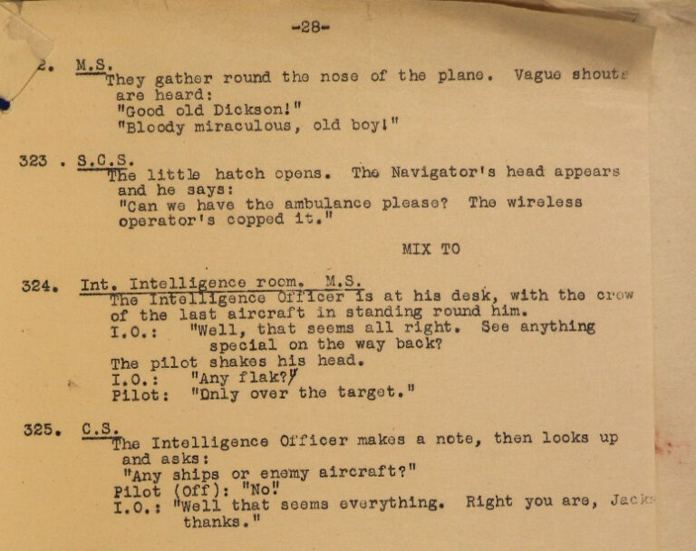Extract from a shot list for 'Target for Tonight' showing the scene where the crew of the delayed Wellington Bomber return to base.