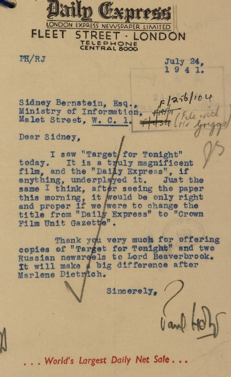 Letter from Paul Holt at the Daily Express to Sidney Bernstein at the Ministry of Information, with an unexplained reference to Marlene Dietrich.
