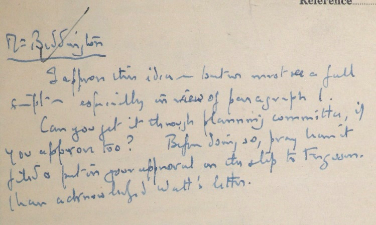 A note from John Betjeman to Jack Beddington about the proposal for a film about Bomber Command.