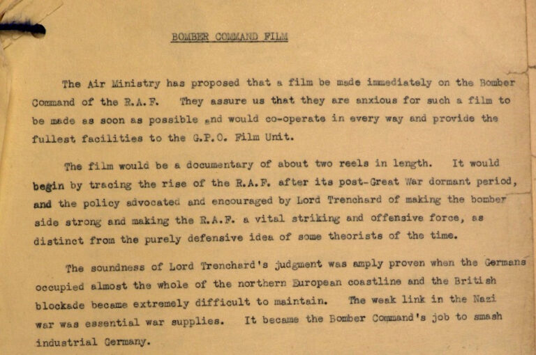 Proposal for a film about Bomber Command.
