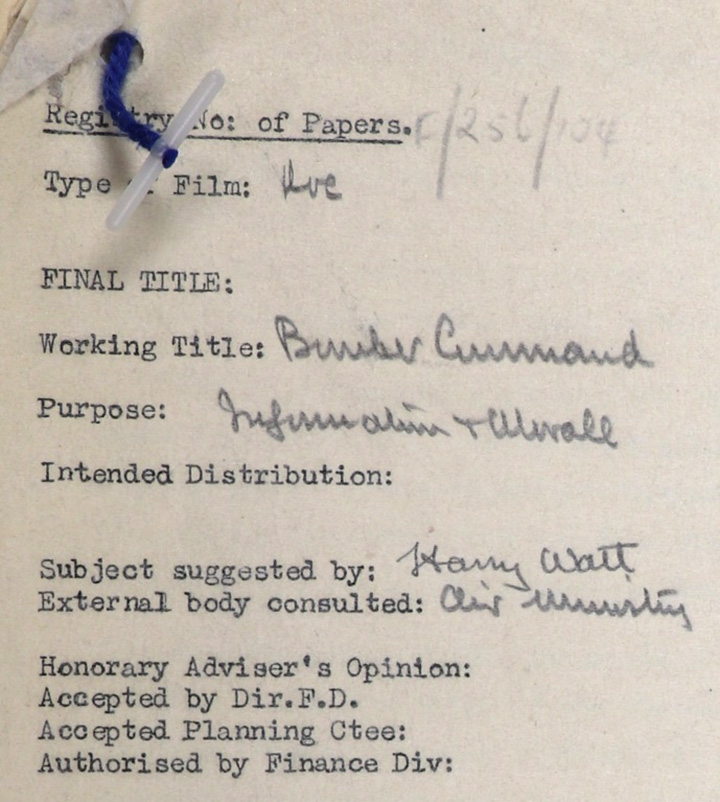 Registry form for the film with the working title of 'Bomber Command' showing the film's purpose as 'Information and Morale'.