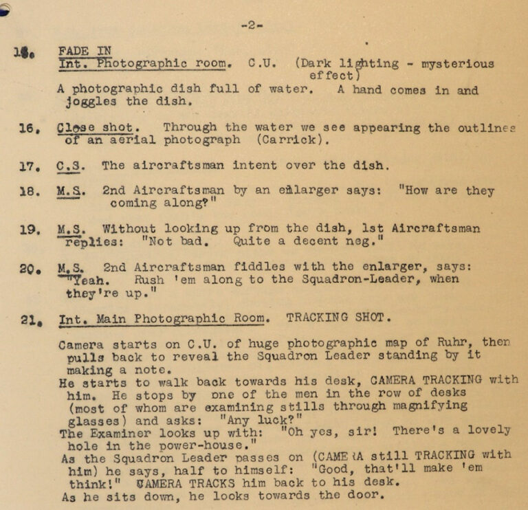 The shot list from an early scene in 'Target for Tonight' showing the processing of reconnaissance photographs.
