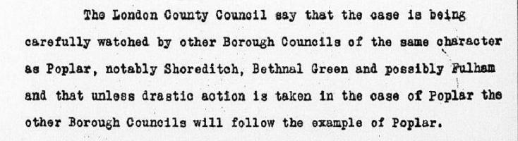 Default of Poplar Borough Council, Memorandum by Alfred Mond. 28 July 1921.
