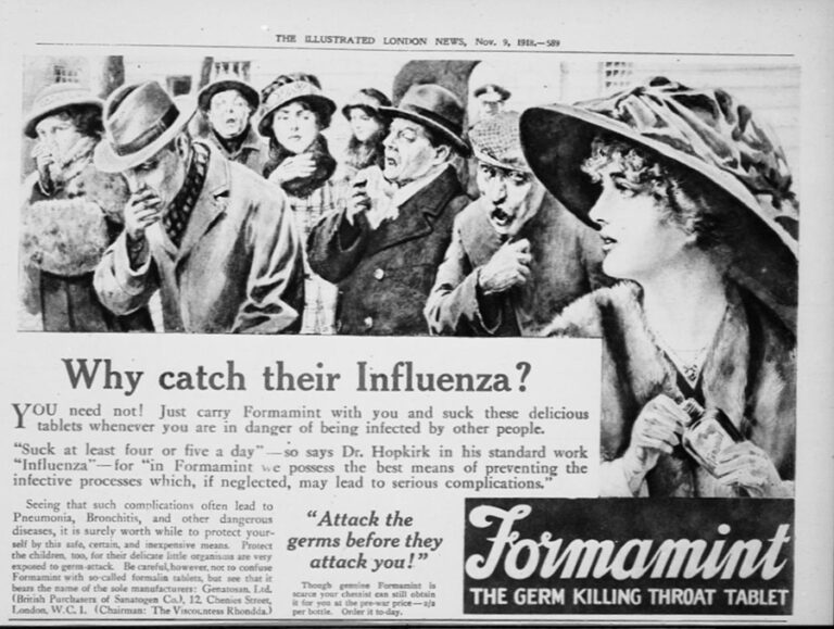 Advertisement for Formamint, a throat lozenge, in the Illustrated London News, 9 November 1916.