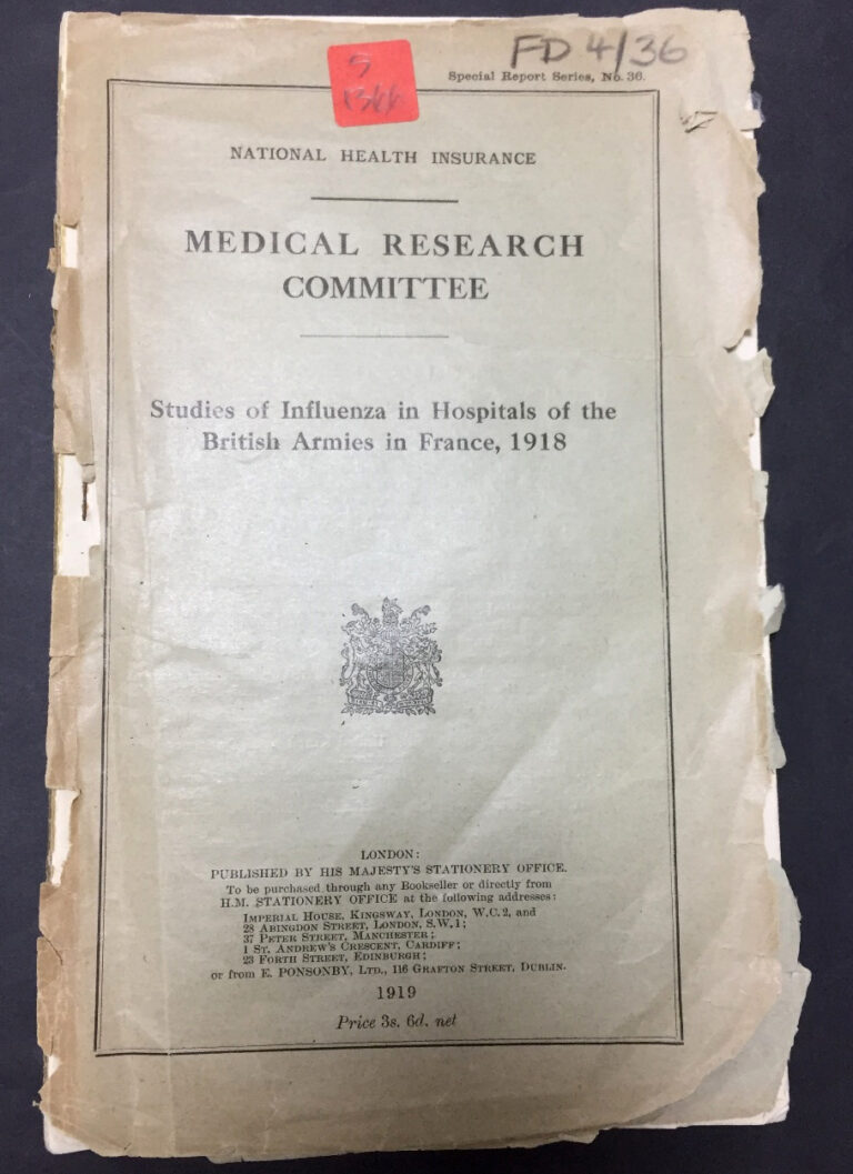 Studies of influenza in hospitals of the British Armies in France, 1918.