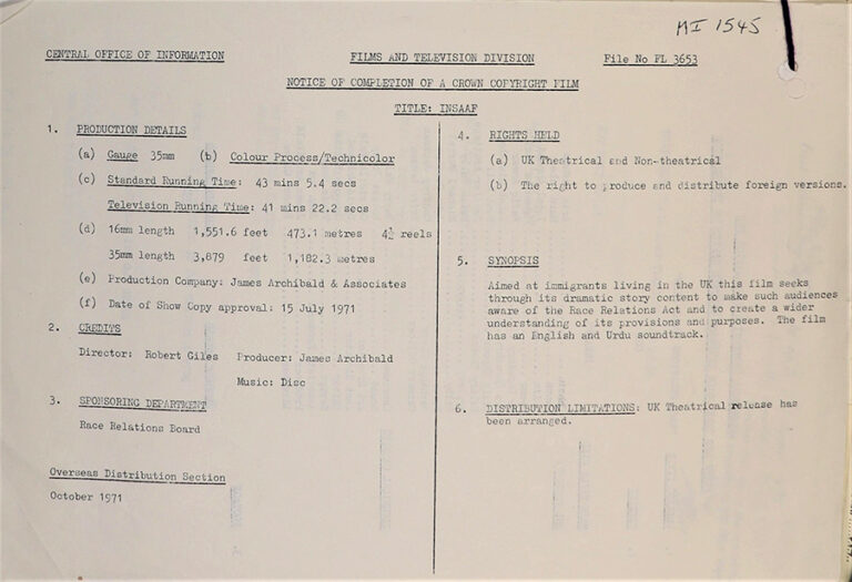 Notice of completion of a crown copyright film 1971.