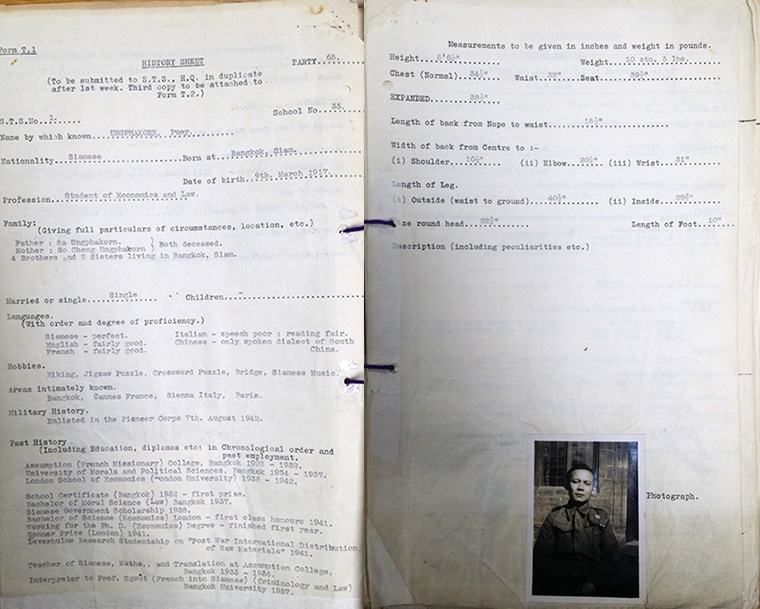 SOE Whites personnel reports on agents for Puey Ungphakorn, 18 August 1942.