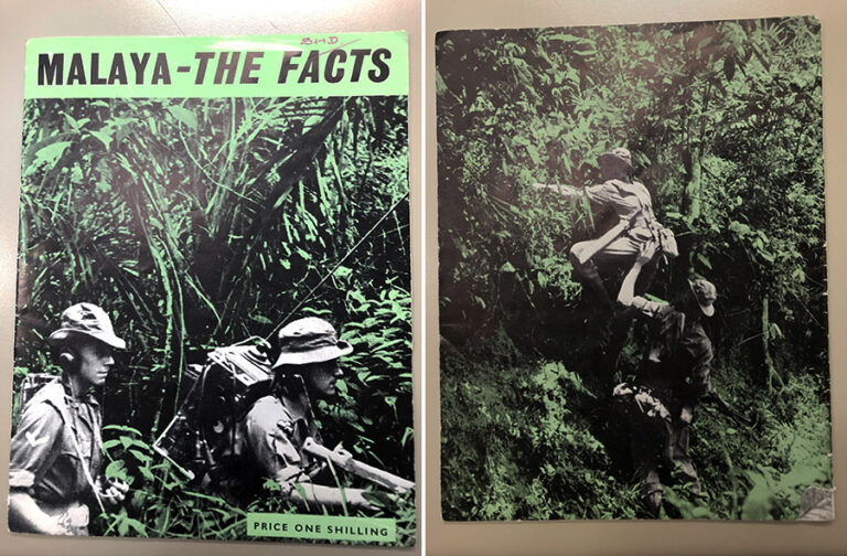 Two adjacent photographs showing soldiers on patrol in thick jungle.