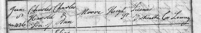 Charles Harold Moore, 1832. From the 'England Births and Christenings, 1538-1975' database.