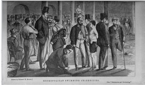 An illustration of 'Metropolitan Swimming Celebrities' stood in front of a swimming pool, featuring Charles Moore on the far right in London Society.