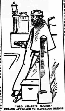 Illustration of Moore selling matches on Waterloo Bridge in The People, The People, 7 February 1897, p. 18.