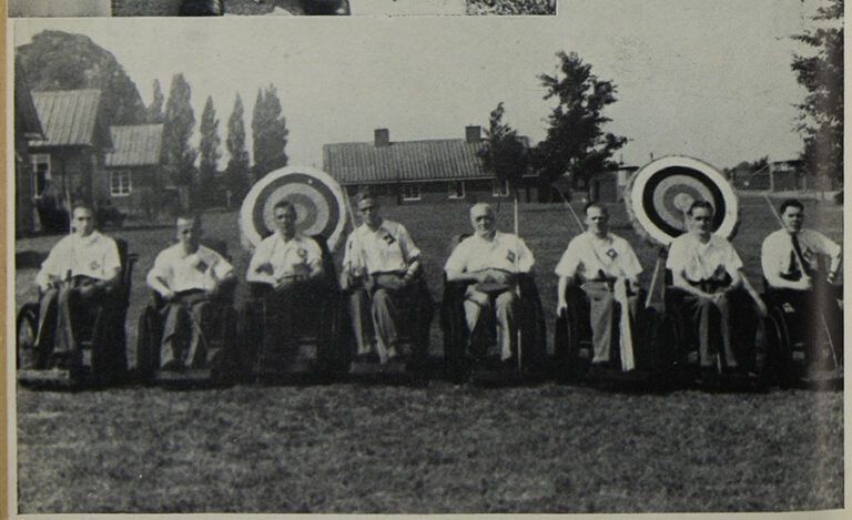 Photo of the Star and Garter team of archers from the first Stoke Mandeville Games in 1948.