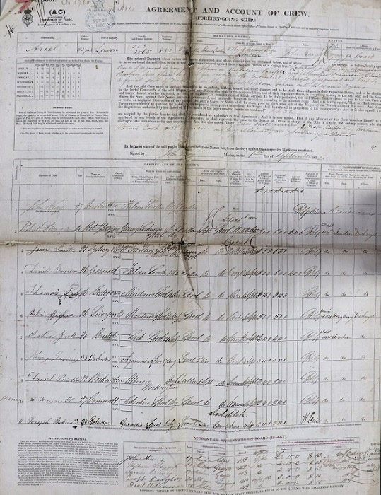 Crew List and Agreement for Ariel, combining the outward journey from London in September 1865 and the return journey from Foochow in May 1866.