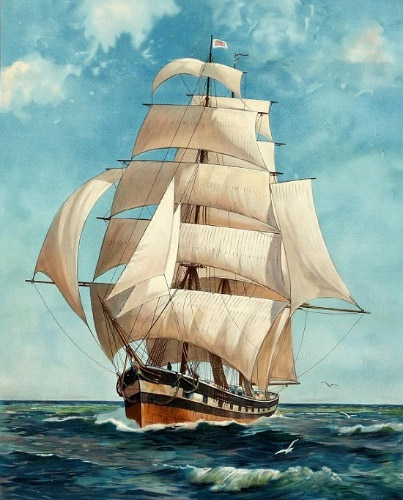 Painting of the Clipper ship in full sail.