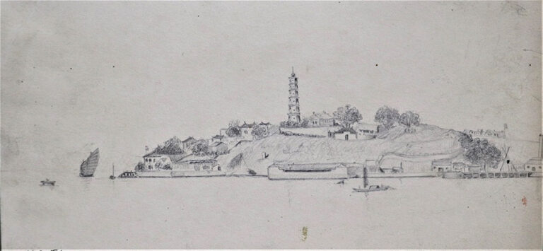 Simple line drawing of Pagoda Point, or the Pagoda Anchorage on the Min River.