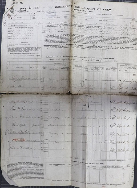 Crew List and Agreement for Serica, combining the outward journey from London in October 1865 and the return journey from Foochow in May 1866.