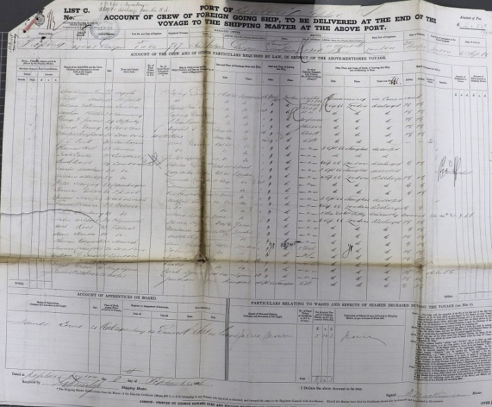 Crew List and Agreement for Taeping, combining the outward journey from London in November 1865 and the return journey from Foochow in May 1866.