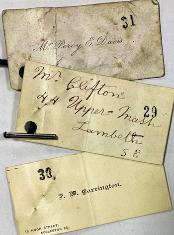 Three visiting cards of professional 'Mary Annes' provided as evidence by John Saul in the Cleveland Street scandal case, 1889-1890.