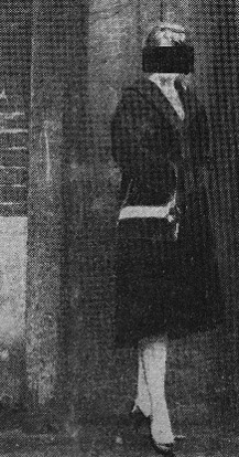 Image of an anonymous sex worker, from a newspaper article in a file on 'Vice in Stepney', 1957-1964.