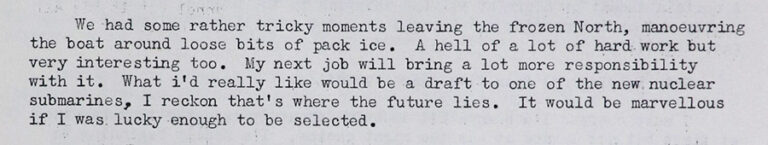Typed extract from the Production file for 'Voyage North' showing narration by newly recruited officer Ellison.