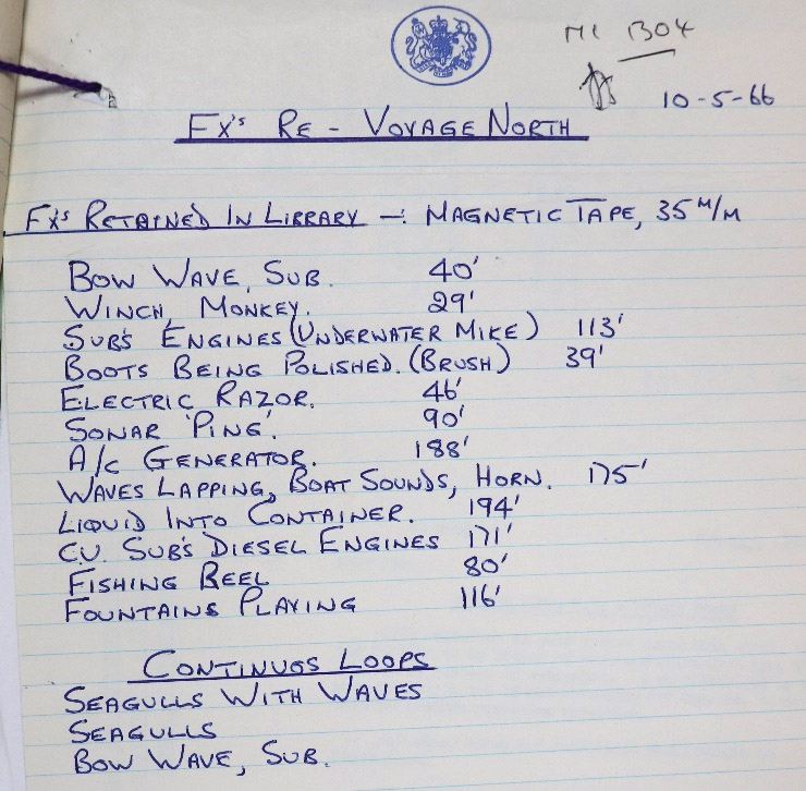 Handwritten extract from the production file for 'Voyage North' showing list of sound effects.