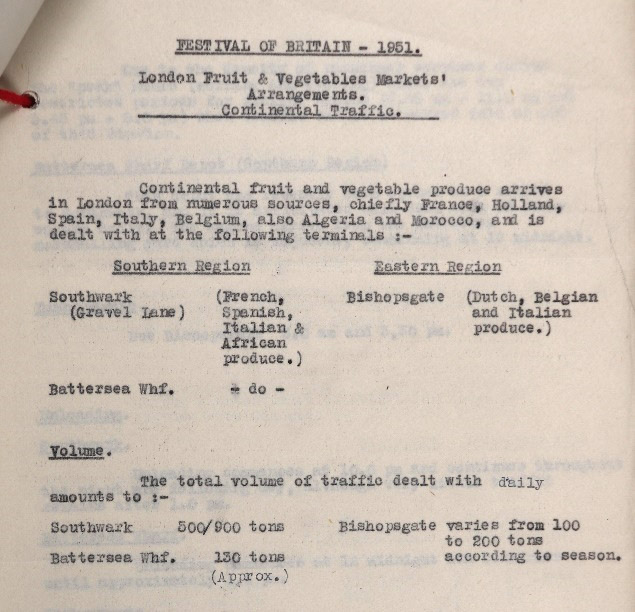 Typed document showing how fruit and vegetables from across Europe and beyond are dealt with on arrival in London.