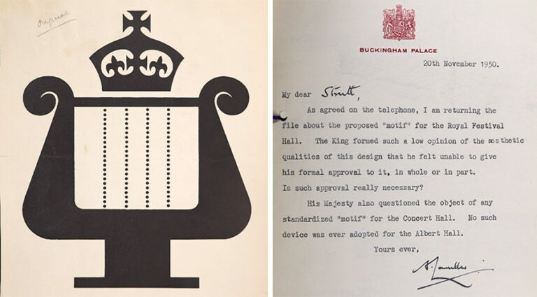 L: The Motif for the Royal Festival Hall designed by FHK Henrion; and R: A letter from the King's Private Secretary, Tommy Lascelles, about the same motif.